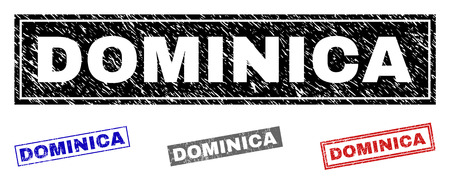 Grunge DOMINICA rectangle stamp seals isolated on a white background. Rectangular seals with grunge texture in red, blue, black and grey colors.