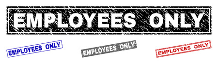 Grunge EMPLOYEES ONLY rectangle stamp seals isolated on a white background. Rectangular seals with grunge texture in red, blue, black and gray colors.