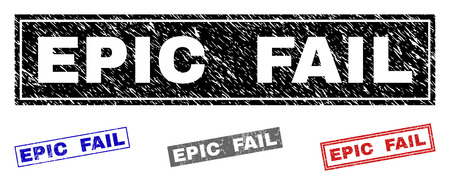 Grunge EPIC FAIL rectangle stamp seals isolated on a white background. Rectangular seals with grunge texture in red, blue, black and grey colors. Çizim