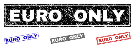 Grunge EURO ONLY rectangle stamp seals isolated on a white background. Rectangular seals with distress texture in red, blue, black and grey colors. Illusztráció