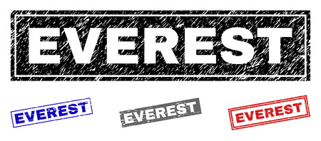 Grunge EVEREST rectangle stamp seals isolated on a white background. Rectangular seals with distress texture in red, blue, black and gray colors.