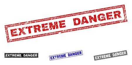 Grunge EXTREME DANGER rectangle stamp seals isolated on a white background. Rectangular seals with grunge texture in red, blue, black and grey colors. 向量圖像