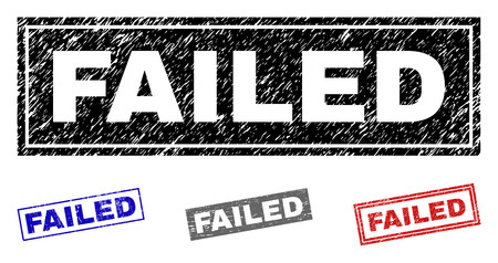Grunge FAILED rectangle stamp seals isolated on a white background. Rectangular seals with grunge texture in red, blue, black and gray colors.