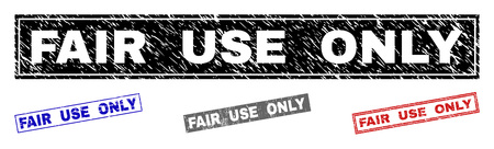 Grunge FAIR USE ONLY rectangle stamp seals isolated on a white background. Rectangular seals with grunge texture in red, blue, black and gray colors.
