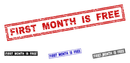 Grunge FIRST MONTH IS FREE rectangle stamp seals isolated on a white background. Rectangular seals with distress texture in red, blue, black and grey colors.