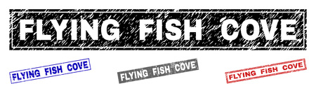 Grunge FLYING FISH COVE rectangle stamp seals isolated on a white background. Rectangular seals with distress texture in red, blue, black and grey colors.