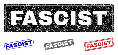 Grunge FASCIST rectangle stamp seals isolated on a white background. Rectangular seals with grunge texture in red, blue, black and grey colors.