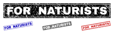 Grunge FOR NATURISTS rectangle stamp seals isolated on a white background. Rectangular seals with grunge texture in red, blue, black and gray colors.