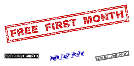 Grunge FREE FIRST MONTH rectangle stamp seals isolated on a white background. Rectangular seals with grunge texture in red, blue, black and gray colors.