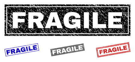 Grunge FRAGILE rectangle stamp seals isolated on a white background. Rectangular seals with grunge texture in red, blue, black and gray colors.
