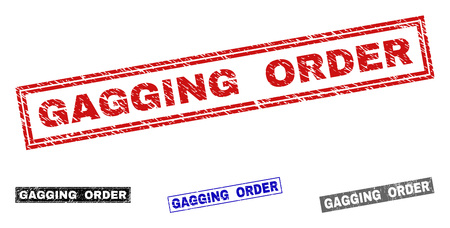 Grunge GAGGING ORDER rectangle stamp seals isolated on a white background. Rectangular seals with distress texture in red, blue, black and grey colors.