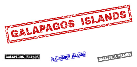 Grunge GALAPAGOS ISLANDS rectangle stamps isolated on a white background. Rectangular seals with grunge texture in red, blue, black and gray colors.