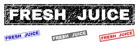 Grunge FRESH JUICE rectangle stamp seals isolated on a white background. Rectangular seals with distress texture in red, blue, black and gray colors.