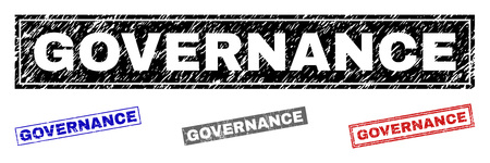 Grunge GOVERNANCE rectangle stamp seals isolated on a white background. Rectangular seals with grunge texture in red, blue, black and gray colors. Çizim