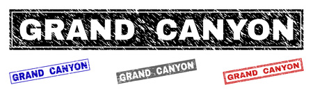 Grunge GRAND CANYON rectangle stamp seals isolated on a white background. Rectangular seals with distress texture in red, blue, black and gray colors. Vectores