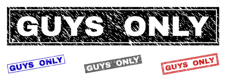 Grunge GUYS ONLY rectangle stamp seals isolated on a white background. Rectangular seals with grunge texture in red, blue, black and grey colors.