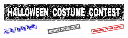Grunge HALLOWEEN COSTUME CONTEST rectangle stamp seals isolated on a white background. Rectangular seals with grunge texture in red, blue, black and gray colors.