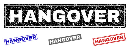 Grunge HANGOVER rectangle stamp seals isolated on a white background. Rectangular seals with distress texture in red, blue, black and gray colors.
