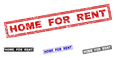 Grunge HOME FOR RENT rectangle watermarks isolated on a white background. Rectangular seals with grunge texture in red, blue, black and gray colors.