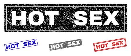 Grunge HOT SEX Rechteck Stempelsiegel isoliert auf weißem Hintergrund. Rechteckige Dichtungen mit Grunge-Textur in den Farben Rot, Blau, Schwarz und Grau.