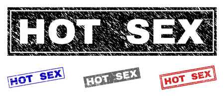 Grunge HOT SEX rectangle stamp seals isolated on a white background. Rectangular seals with grunge texture in red, blue, black and grey colors.