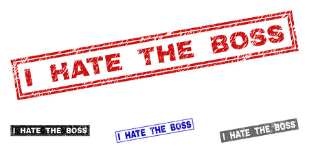 Grunge I HATE THE BOSS rectangle stamp seals isolated on a white background. Rectangular seals with grunge texture in red, blue, black and grey colors.