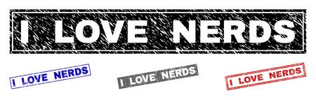 Grunge I LOVE NERDS sceaux de timbre rectangle isolés sur fond blanc. Sceaux rectangulaires avec texture de détresse dans les couleurs rouge, bleu, noir et gris.