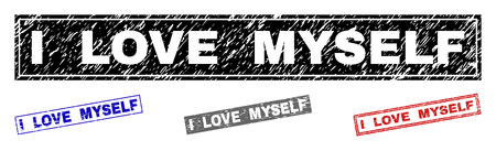 Grunge I LOVE MYSELF rectangle stamp seals isolated on a white background. Rectangular seals with grunge texture in red, blue, black and grey colors.