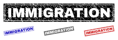 Grunge IMMIGRATION rectangle stamp seals isolated on a white background. Rectangular seals with grunge texture in red, blue, black and grey colors.