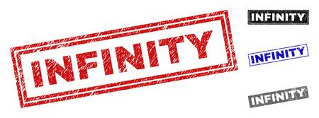 Sceaux de timbre rectangle Grunge INFINITY isolés sur fond blanc. Joints rectangulaires avec texture grunge dans les couleurs rouge, bleu, noir et gris.
