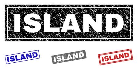 Grunge ISLAND rectangle stamp seals isolated on a white background. Rectangular seals with grunge texture in red, blue, black and gray colors.