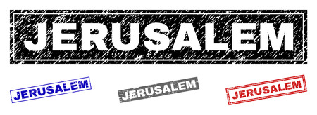 Grunge JERUSALEM rectangle stamp seals isolated on a white background. Rectangular seals with grunge texture in red, blue, black and gray colors.