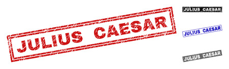 Grunge JULIUS CAESAR rectangle stamp seals isolated on a white background. Rectangular seals with distress texture in red, blue, black and gray colors.