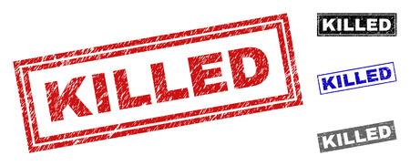 Sellos de sello de rectángulo asesinado Grunge aislados sobre fondo blanco. Sellos rectangulares con textura grunge en colores rojo, azul, negro y gris. Ilustración de vector
