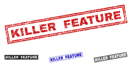 Grunge KILLER FEATURE rectangle stamp seals isolated on a white background. Rectangular seals with grunge texture in red, blue, black and grey colors.