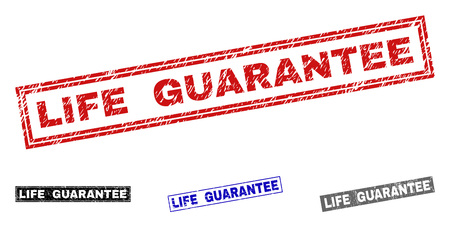 Grunge LIFE GUARANTEE rectangle stamp seals isolated on a white background. Rectangular seals with grunge texture in red, blue, black and grey colors. Stock Vector - 124288690
