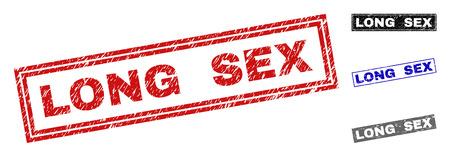 Grunge LONG SEX Rechteck Stempelsiegel isoliert auf weißem Hintergrund. Rechteckige Dichtungen mit Grunge-Textur in den Farben Rot, Blau, Schwarz und Grau.