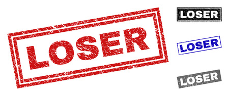 Grunge LOSER Rechteck Stempelsiegel isoliert auf weißem Hintergrund. Rechteckige Dichtungen mit Grunge-Textur in den Farben Rot, Blau, Schwarz und Grau. Vektorgrafik