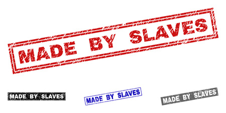 Grunge MADE BY SLAVES rectangle stamp seals isolated on a white background. Rectangular seals with grunge texture in red, blue, black and gray colors.