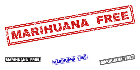 Grunge MARIHUANA FREE rectangle stamp seals isolated on a white background. Rectangular seals with distress texture in red, blue, black and gray colors. Illustration