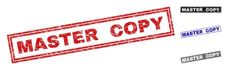 Sceaux de timbre rectangle Grunge MASTER COPY isolés sur fond blanc. Joints rectangulaires avec texture grunge dans les couleurs rouge, bleu, noir et gris.