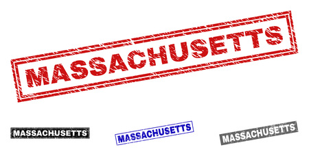 Grunge MASSACHUSETTS rectangle stamp seals isolated on a white background. Rectangular seals with grunge texture in red, blue, black and grey colors.