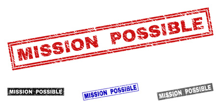 Grunge MISSION POSSIBLE rectangle stamp seals isolated on a white background. Rectangular seals with grunge texture in red, blue, black and grey colors.
