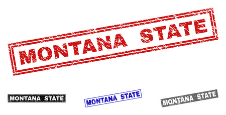 Grunge MONTANA STATE rectangle stamp seals isolated on a white background. Rectangular seals with grunge texture in red, blue, black and grey colors.