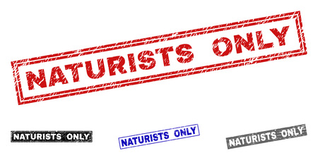 Grunge NATURISTS ONLY rectangle stamp seals isolated on a white background. Rectangular seals with grunge texture in red, blue, black and grey colors.