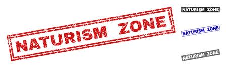 Grunge NATURISM ZONE rectangle timbre sceaux isolés sur fond blanc. Joints rectangulaires avec texture grunge dans les couleurs rouge, bleu, noir et gris. Vecteurs