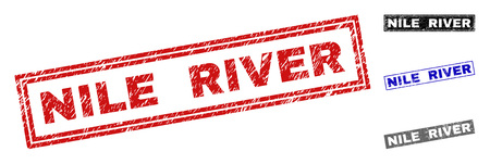 Grunge NILE RIVER rectangle stamp seals isolated on a white background. Rectangular seals with grunge texture in red, blue, black and grey colors.