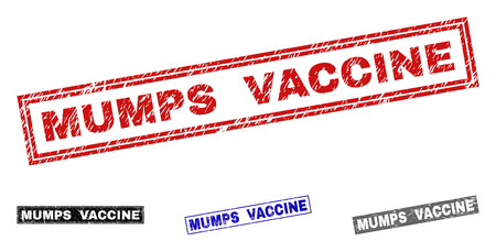 Grunge MUMPS VACCINE rectangle stamp seals isolated on a white background. Rectangular seals with distress texture in red, blue, black and grey colors.