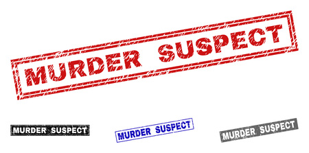 Grunge MURDER SUSPECT rectangle stamp seals isolated on a white background. Rectangular seals with grunge texture in red, blue, black and gray colors.
