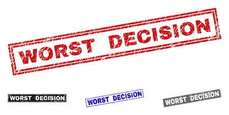 Grunge WORST DECISION rectangle stamp seals isolated on a white background. Rectangular seals with grunge texture in red, blue, black and gray colors.